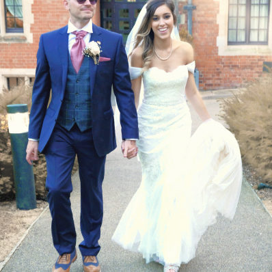 bride and groom on their wedding day in Evesham