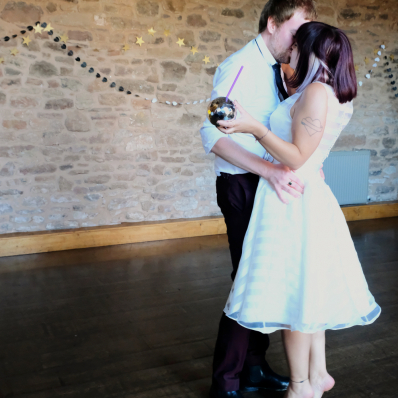 Bride and groom first dance and kiss at wedding in lyde arundel hereford