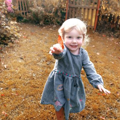 little girl holding an autumn leaf