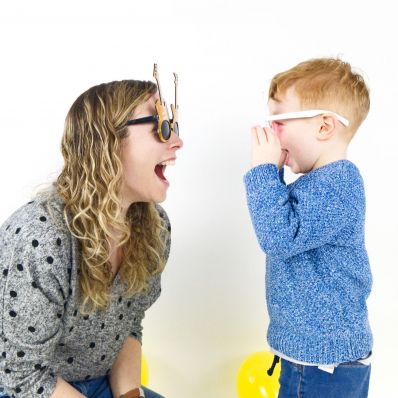 mother and daughter in silly sunglasses in the studio