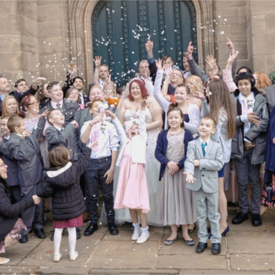 wedding confetti shot at sessions house in spalding