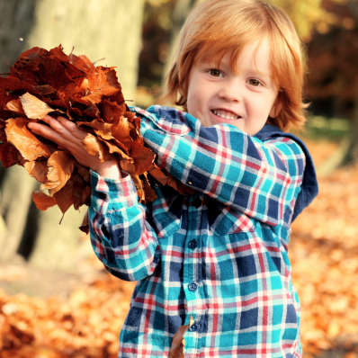 little boy throwing autumn leaves photoshoot lickey hills birmingham