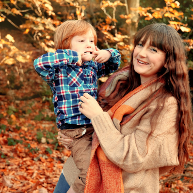 mother and son autumn photoshoot lickey hills birmingham