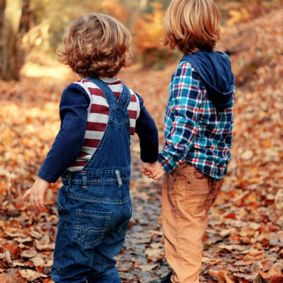 little brothers holding hands autumn photoshoot lickey hills birmingham