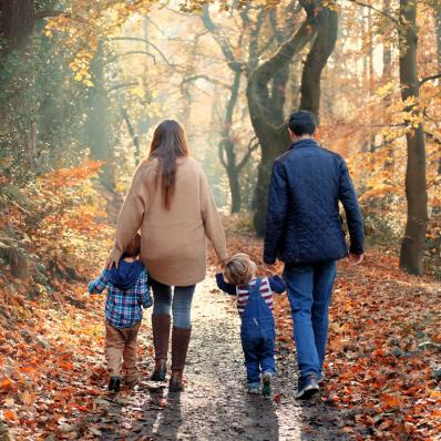 family holding hands autumn photoshoot lickey hills birmingham