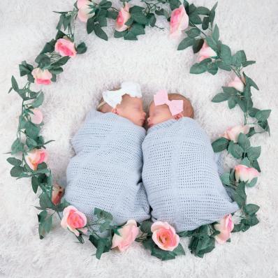 twin newborn girls photoshoot with flowers