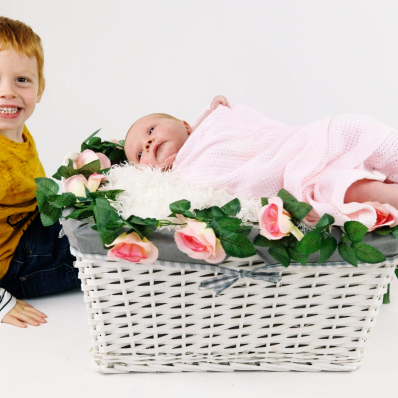 brother holding baby sister studio photoshoot worcestershire